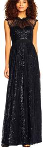 Adrianna Papell Lace Sequin Evening Full Length Dress