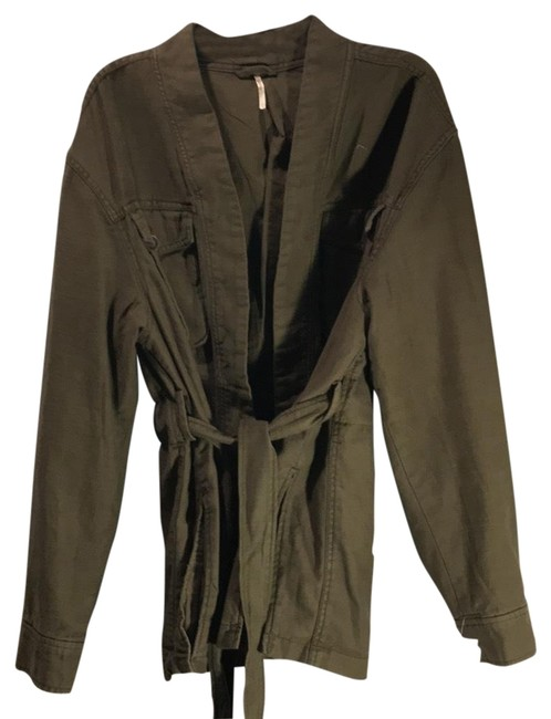 Free People Longsleeve Cotton Tie Belted Military Jacket