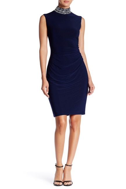 Preload https://img-static.tradesy.com/item/23220734/marina-ruched-funnel-neck-navy-mid-length-cocktail-dress-size-14-l-0-0-650-650.jpg