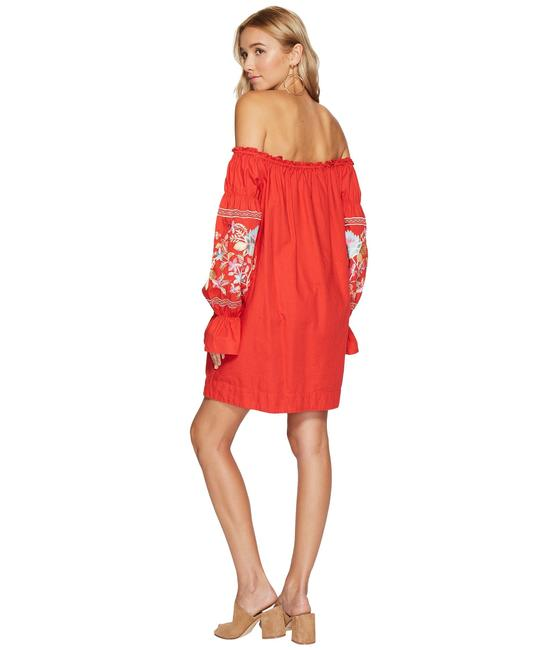 Free People short dress red Embroidered Floral Elastic Pockets Cotton on Tradesy