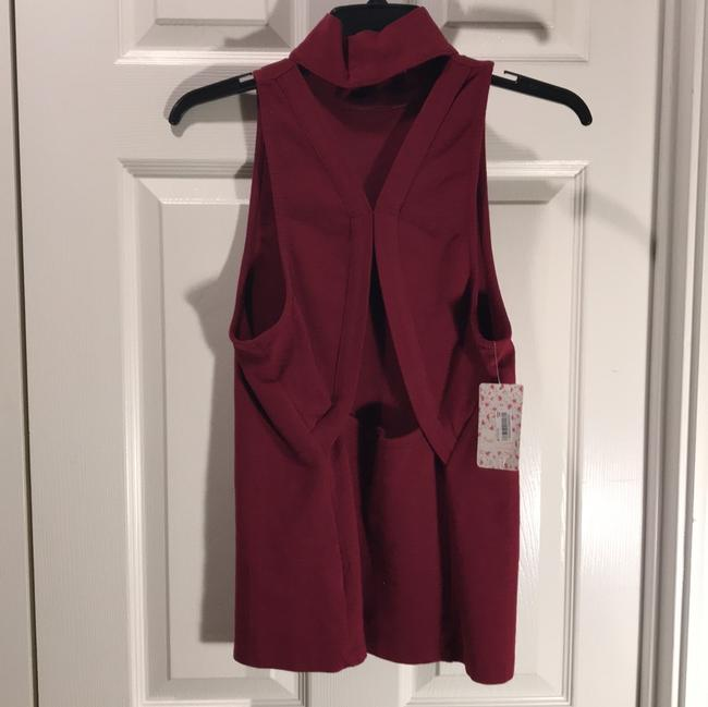 Free People Sleeveless Cut-out Fitted Turtleneck Top red