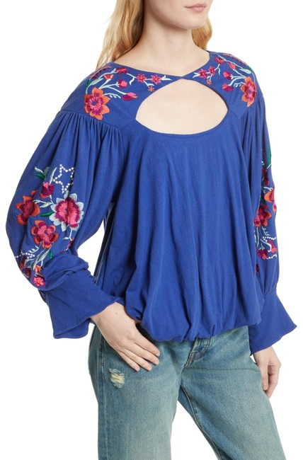 Preload https://img-static.tradesy.com/item/23220755/free-people-blue-lita-embroidered-bell-sleeve-blouse-size-8-m-0-4-650-650.jpg