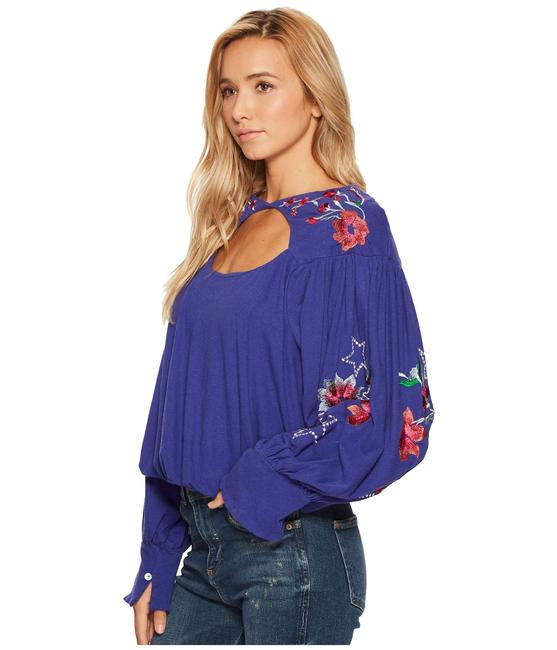 Free People Embroidered Longsleeve Bohemian Cut-out Cotton Top blue