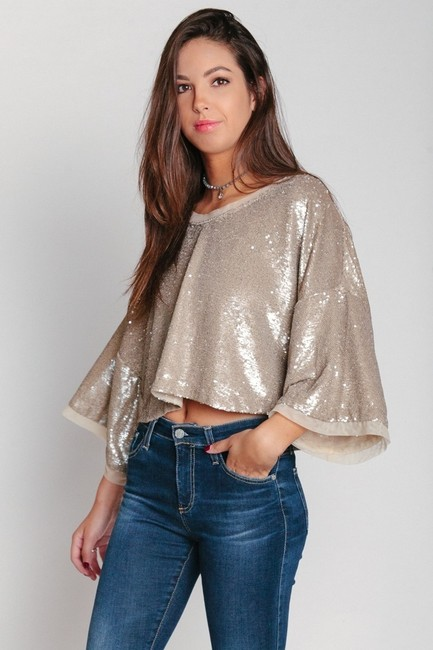 Free People Sequin Boho Crop 3/4 Sleeve Nylon Top champagne