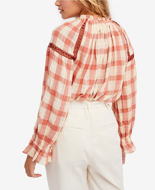 Free People Longsleeve Cotton Tassels V-neck Checkered Top pink