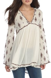 Free People Embroidered Longsleeve V-neck Cut-out Tunic