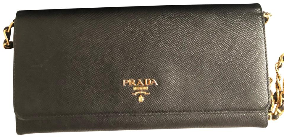On Shoulder Gold Chain Black Leather Prada Bag Small g6aw4qnxH