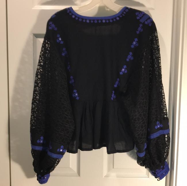 Free People Longsleeve V-neck Embroidered Sheer Rayon Top black