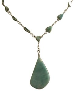 None Brand Light Turquoise Silver Necklace with Pendant Bundle Bracelet