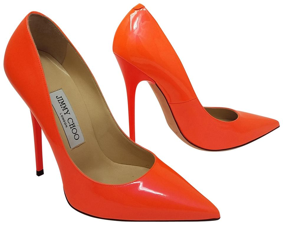 Jimmy Choo Orange Red Pointed-toe Patent Leather Anouk Pointed-toe Red Pumps 57e018