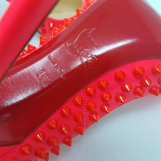 Christian Louboutin Spike Studded Pointed Toe Patent Leather Pigalle Pink Pumps