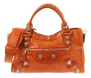 Balenciaga City First Giant Town Moto Satchel in Orange