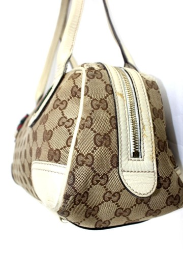 Gucci Satchel/Tote Style Excellent Vintage Great Everyday Mayfair Line Red/Green Accents Satchel in brown large logo print canvas and white leather