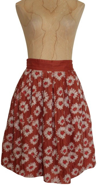 Item - Brown Beige Plenty By Tracy Reese Floral Embroidered Skirt Size 2 (XS, 26)