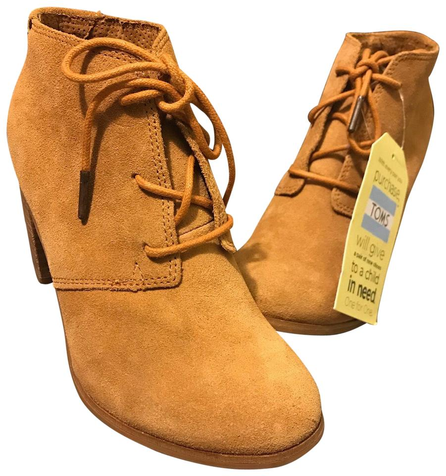 """7742186ff97 TOMS Brown Lunata Lace-up 3"""" Heel In Wheat Suede Boots Booties Size ..."""