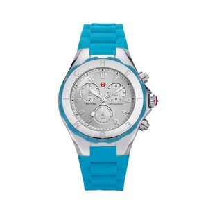 Michele Silver / Blue Tahitian Jelly Bean Watch