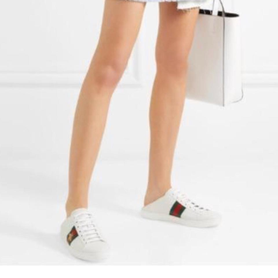 4211dc27449 Gucci Ace Embroidered Collapsible Heel Leather Sneakers Sneakers ...