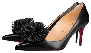 Christian Louboutin Heels Point Toe Heels Pompom Fringe Black Pumps