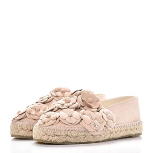 Chanel Classic Espadrille Flowers Nude Flats