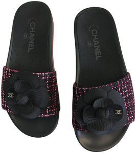 Chanel Slides Pool Slide Flats Flower Black Sandals