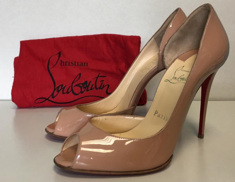 d97341d5b28c Christian Louboutin Nude Classic Demi You Half D orsay Peep-toe Patent Leather  Pumps Size EU 37 (Approx. US 7) Regular (M