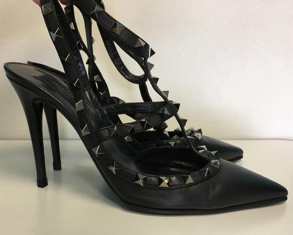 46a056006976 Valentino Black Classic Rockstud Gunmetal Leather Strappy Point-toe Heel  Pumps Size EU 39.5 (Approx. US 9.5) Regular (M