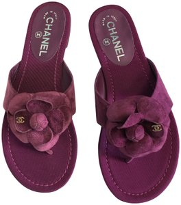 fbe596a55851 Chanel Slides Pool Slide Flats Flower Purple Sandals. Chanel Purple Classic  Suede Leather Cc Camellia Flower Mule ...