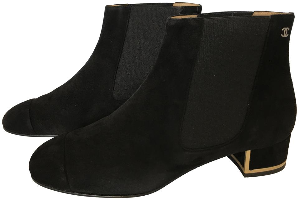 d8cc8f7df71 Chanel Black Classic Suede Leather Cap-toe Gold Trim Border Cc 30mm Pull-on  Ankle Boots/Booties Size EU 38 (Approx. US 8) Regular (M, B)