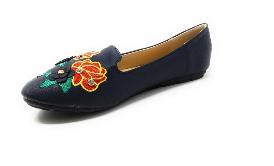 6a1ef10241cc Navy Women Embroidered Ballet B-2714 Flats Size US 6 Regular (M