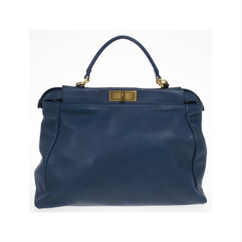 fd63150640 Fendi Limited Edition Peekaboo Colourful Interior Blue Leather and Beads  Tote 52% off retail