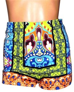 Flying Tomato Boho Hippie Chic High Wasted Mini/Short Shorts multi colored