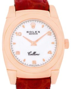 Rolex Rolex Cellini Cestello Ladies 18k Rose Gold Red Strap Watch 5310