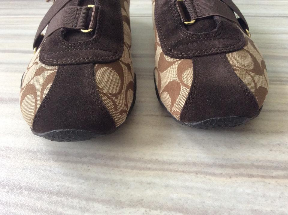 f877c45fb863 Coach Tan and Brown Kyrie Signature Velcro Strap Canvas   Leather Sneakers  Sneakers Size US 7 Regular (M