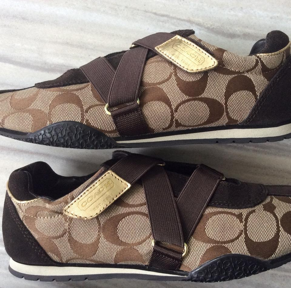 7d021ed54a81 Coach Fashion Sneakers Size 7 Signature Tan and Brown Athletic Image 9.  12345678910