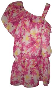 IZ Byer California Floral Ruffle Lined One Shoulder Top Multi-Color
