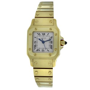 Cartier Ladies Cartier Santos 24MM 18K Yellow Gold Automatic Watch Diamonds