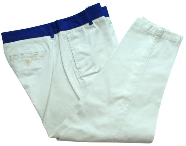 Item - Ivory / Blue Colorblock Scoot Twill Crop Ankle Pants Size 8 (M, 29, 30)
