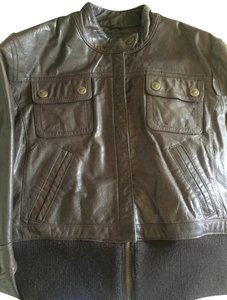 Wilsons Leather Bomber Cropped Motorcycle Brown Leather Jacket