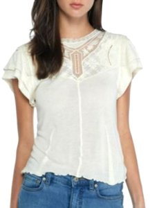 Free People Ruffle Mesh Lace Knit Top Ivory
