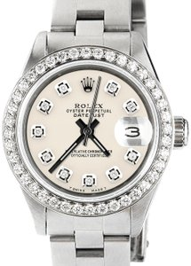 Rolex Datejust Ladies 26mm Steel Oyster Watch w/Ivory Dial & Diamond Bezel