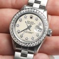 Rolex Datejust Ladies 26mm Steel Oyster Watch w/Ivory Dial & Diamond Bezel Image 1