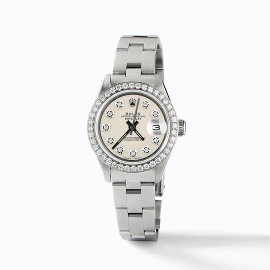 Rolex Datejust Ladies 26mm Steel Oyster Watch w/Ivory Dial & Diamond Bezel Image 2