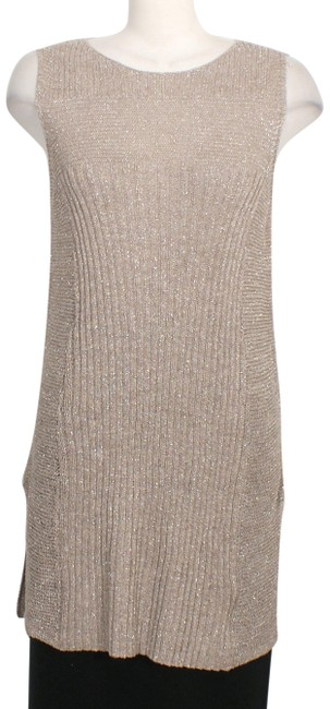 Item - Pebble Brown Linen Blend Shimmer Mixed Stitch Sleeveless Sweater M Tunic Size 10 (M)