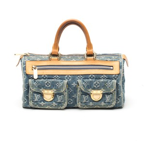 Louis Vuitton Denim Speedy Monogram Neo Satchel in Blue