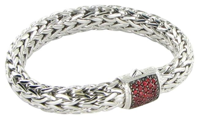 Item - Red Sapphires Sterling Silver Classic Chain 10.5mm Clasp Bracelet