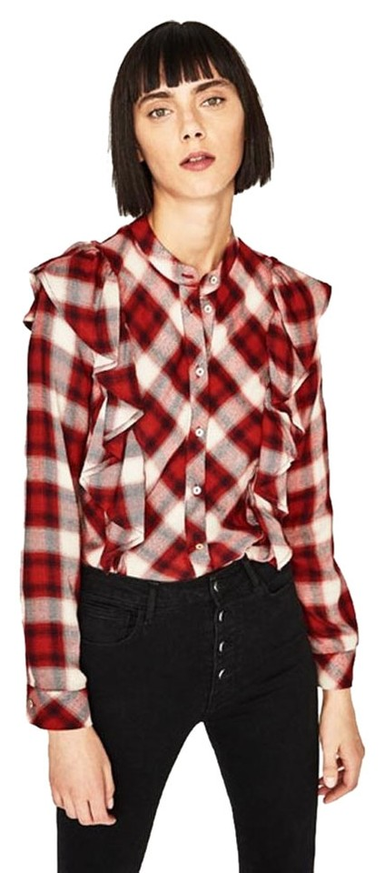 11c07181ad4bcd Zara Red/White Checked Frilled Shirt Long Sleeve New Viscose Blouse ...