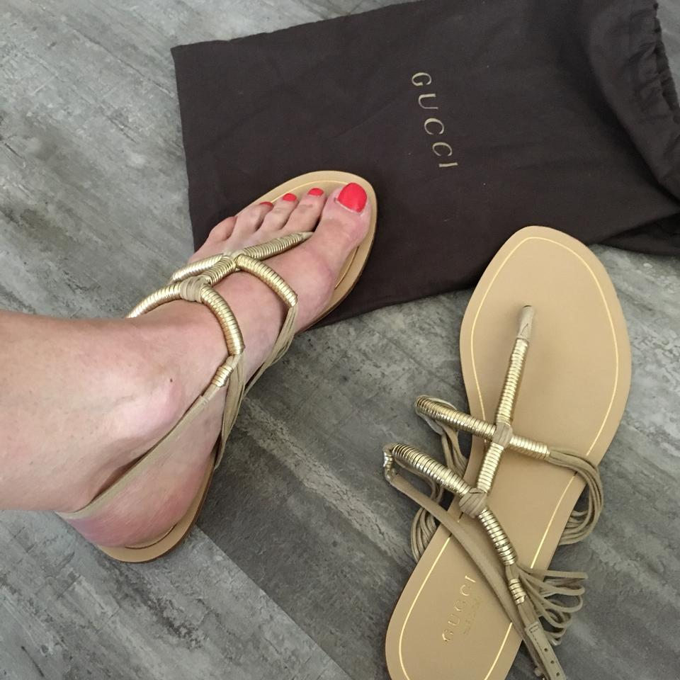 2e7361446e1d6f Gucci Gold Taupe Anita Metallic Leather and Suede Thong Sandals Size ...