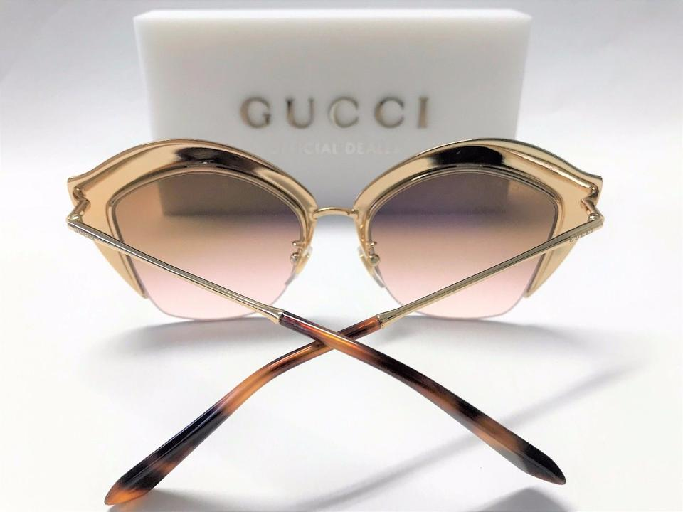 84d8398c15b9 Gucci Gucci GG0114S 002 Gold Cat Eye W. Swarovski Stones/Brown Lens Image  8. 123456789