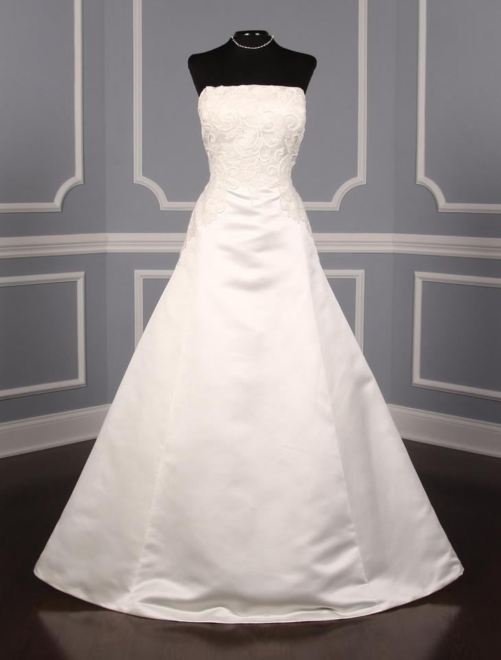 Ovias Diamond White Satin Bongani Formal Wedding Dress Size 14 L