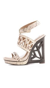 BCBGMAXAZRIA Animal Print Embossed Leather Sculptured Hills Geometric Hills Modern Roccia Wedges